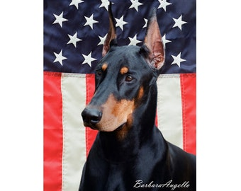 Doberman Flag, Doberman Patriotic Flag, Doberman Gift, Doberman Art, Doberman