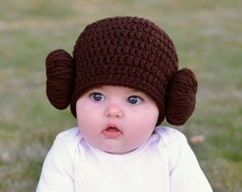 Princess Leia Halloween Costume Hat - Star Wars Halloween Costume - Infant or Toddler Princess Leia Wig - Baby's First Halloween Ideas