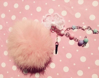 Pom pom fairy kei dust plug pink kawaii cute