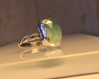 Handmade Gemstone Ring/Handcrafted Aqua Chalcedony and Sterling Silver Statement Ring./Free Shipping in the US.
