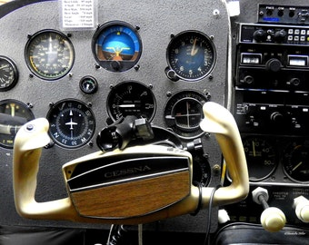 Aviation Photography 1960 Cessna 210 Dashboard Print Rustic Decor Home Decor Free