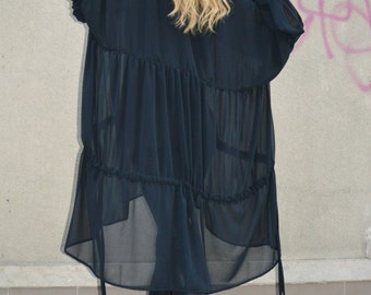 Extravagant Black Chiffon Shirt, Maxi Asymmetric Long Tunic, Oversize Tunic, Plus Size Top by SSDfashion