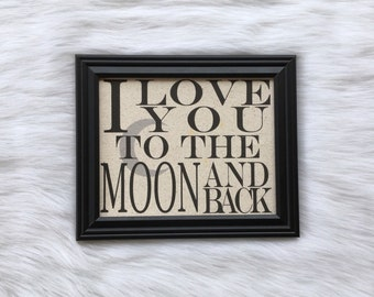 Cotton Home Decor, Nursery, New Baby Gift, Wedding, Linen Anniversary, Love you to the moon and back, Burlap, Cotton Fabric Print