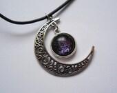 Crescent moon galaxy necklace pendant handmade