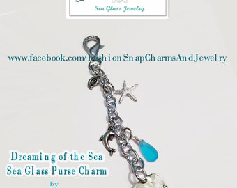 1 Sea Glass Purse Charm, Dreaming of the Sea, Charm Purse charm