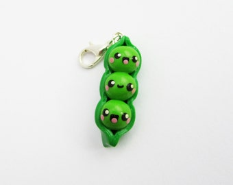 Peas in a pod charm, Three Peas in a Pod, Pea pod charm, gift for her, Polymer clay charm, Kawaii charm, miniature food, planner charm, gift