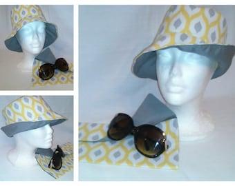 Ikat Reversible Bucket Hat/Fedora/Floppy hat(matching clutch)