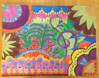 Quirky Candy Colored Psychedelic Whimsy Watercolor and Acrylic Painting on Flat Canvas