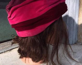 Vintage pink velvet cloche hat