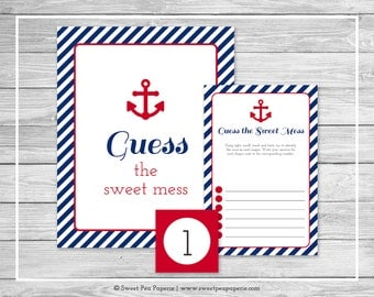 Nautical Baby Shower Guess The Mess Game - Printable Baby Shower Guess The Sweet Mess Game - Navy Red Baby Shower - Diaper Mess Game - SP118