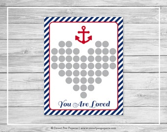 Nautical Baby Shower Guest Book - Printable Baby Shower Guest Book - Navy Red Baby Shower - Baby Shower Guest Book - Guest Book - SP118