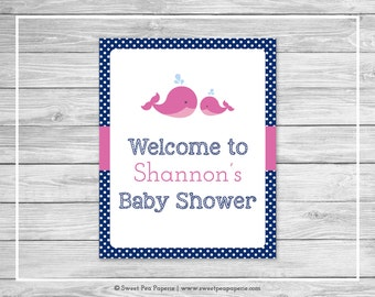 Whale Baby Shower Welcome Sign - Printable Baby Shower Welcome Sign - Pink Whale Baby Shower - Baby Shower Welcome Sign - EDITABLE- SP128