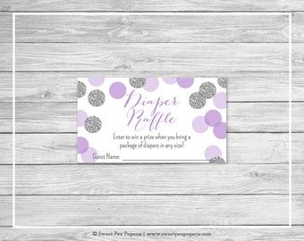 Purple and Silver Baby Shower Diaper Raffle Insert - Printable Baby Shower Diaper Raffle Cards - Purple and Silver Baby Shower - SP126