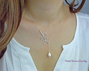 Dainty Pear Shaped Pearl Branch Lariat Necklace, Elegant Modern Lariat Y, White Pearl Branch Leaf Simple Wedding Jewelry, Bridesmaids Gifts