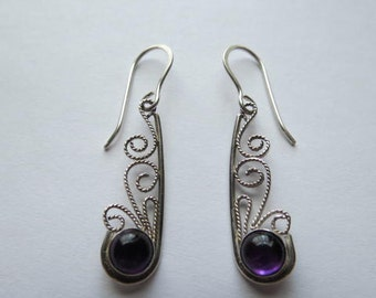 Sterling Silver Filigree and Amethyst cabochons  earrings