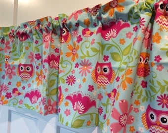 Owl and Birds Valance - Tangerine, fuchsia, pink, lime green Owls on blue
