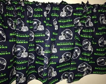 Seattle seahawks football navy curtain valance