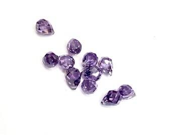 10 Pieces Royal Purple/ Amethyst Cubic Zirconia (CZ) Briolette Pendants, 7x5mm