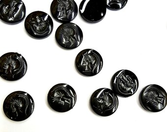 36 Pieces Acrylic Jet Black Intaglios, Left Facing Only, Warrior Bust on Front, Vintage, 10mm