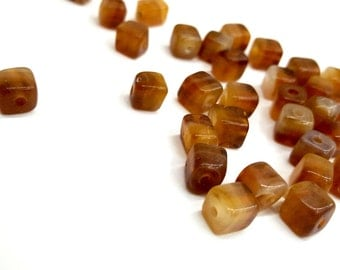 25 Pieces Milky Topaz/ Brown Cube Beads, 6x6mm Square