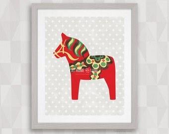Dala Horse: Watercolor Red, Green, Brown. Nordic Wall Art. Dalahäst, Scandinavian Dalecarlian Horse. Original 8x10, 16x20 Digital Prints