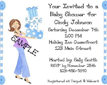 Personalized Baby Shower Invitation Blue Mod Mom