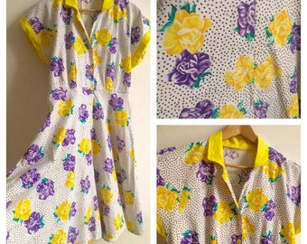 1960 s Italian Sundress Yellow and Purple floral with dots !