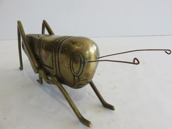 Large Mid-Century Modern Brass Sculpture Of Grasshopper.