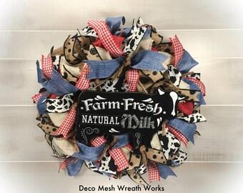 Farmhouse Wreath, Primitive Wreath, Burlap Wreath, Summer Wreath, Country Wreath, Chalkboard Wreath, Cow Wreath, Mesh Wreath, Denim Wreath