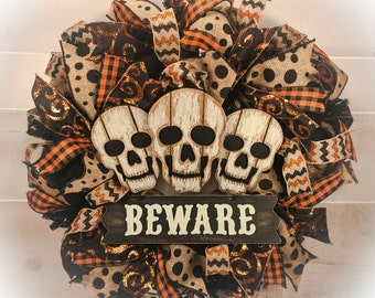 Halloween Wreaths, Skull Wreath, Halloween Wreath, Primitive Halloween Wreath, Fall Wreath, Halloween Decor, Front Door Wreath, Halloween