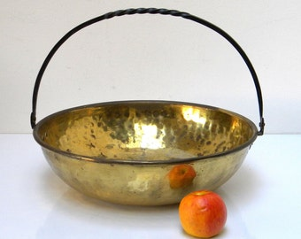 Vintage Xlarge Hand Hammered Brass Cauldron with Twisted Iron Handle, Rustic Fireplace or Kitchen Decor