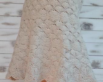 Crochet skirt, beige cotton skirt, lace skirts, beige summer skirt, boho beach skirt, flared skirt crochet, festival hippie skirt cotton