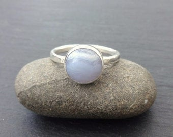 Sterling Silver Blue Lace Agate cabochon stacking ring, silver ring, blue gemstone ring, stacking ring, Agate silver ring, Size P 1/2