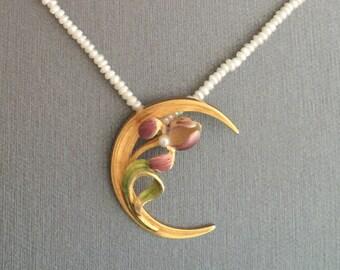 14K Gold Art Nouveau Purple Enamel Iris Green Leaf Seed Pearl Moon Pendant Necklace