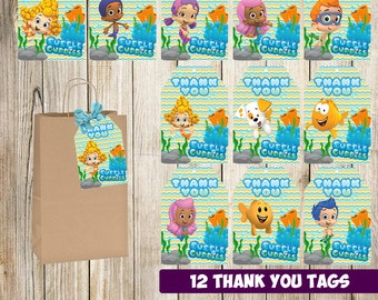 Bubble Guppies Thank you tags instant download, Printable Bubble Guppies Thank you cards, Bubble Guppies gift tags