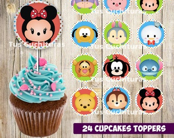 24 Tsum Tsum Cupcakes Toppers instant download, Printable Tsum Tsum cupcakes Topper, Tsum Tsum toppers printable, 2 INCHES