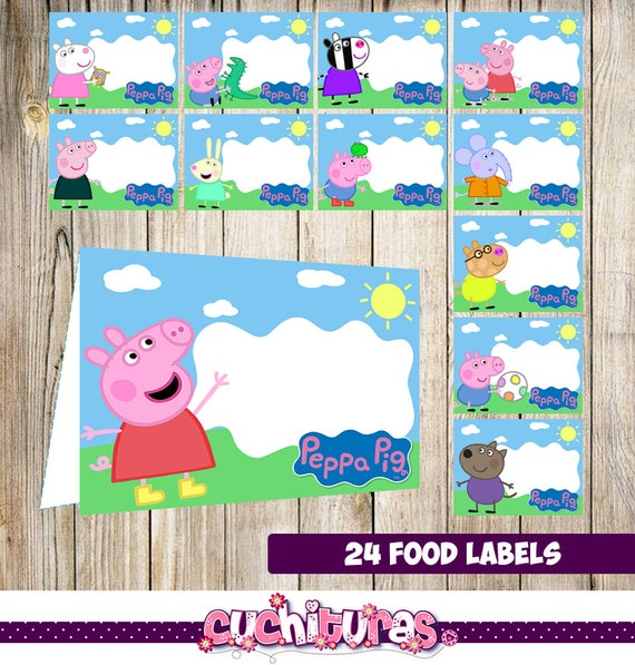 24 Peppa Pig Food Tent Cards Instant Download Printable Peppa