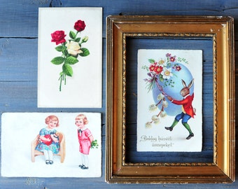 Antique Postcards, Three pcs Antique Postcards, Easter Postcards, Easter Bunny Postcard