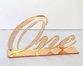Gold mirror table numbers, Wedding table numbers, Words for table number, Wedding decorations, Bling table numbers, Script table numbers, 01