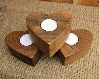 Handmade Heart Candle Holders / Wood Heart Candle - Made From Reclaimed Wood - Valentines Gift