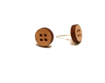 Cherry Wooden Button Post Earrings