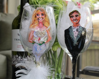 Custom Wine Glass Wedding Illustration Special Occasions