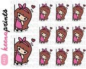 A421 | PEEKING KEENACHI Emoticon Repositionable Stickers Perfect for Erin Condren Life Planner, Filofax, Plum Paper or scrapbooking