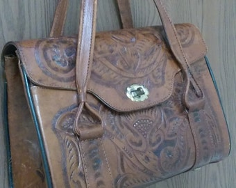 Tooled leather purse rose pattern lined w/ zipper, top handle; needs restitching--craft project; Mexico, medium, nice!