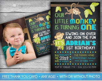 Monkey Invitation | Monkey Invite | First Birthday Invitation | Monkey Birthday Invite | Boy Chalkboard Invitation - Monkey Birthday Party