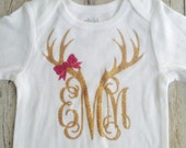 Onesie-baby girl-deer antler monogram with pink bow