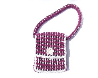 Hand bag, purple and cream