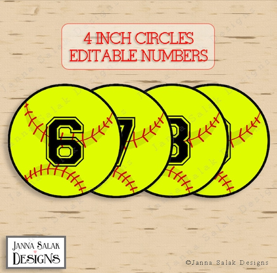 4 Softball Tags With Editable Numbers Instant Download