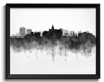 Saskatoon Skyline Saskatchewan Canada Cityscape Art Print Poster Black White Grey Watercolor Painting