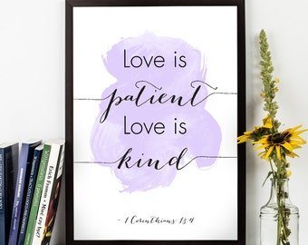 Love is patient  (...), 1 Corinthians 13:4 quote, Family bible verse, Bible scripture, Watercolor Poster, Wall art, Inspirational quote,